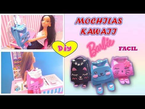 DIY | Como hacer Mochilas kawaii para muñecas Barbie  | Manualidades para muñecas