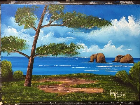 Beginners, How to paint a water/landscape. Rockaway.  (Acrylic)