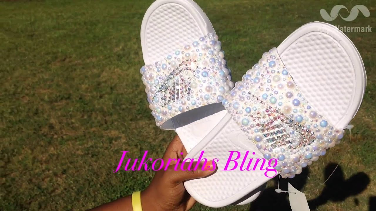 da38d77b5 Swarovski bling diy Nike slides super bling nike - YouTube