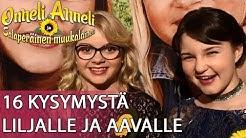 16 kysymystä Aava Merikannolle ja Lilja Lehdolle. ONNELI, ANNELI JA SALAPERÄINEN MUUKALAINEN.