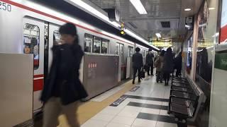 なんとなく電車:東京メトロ新宿御苑前駅:丸ノ内線茗荷谷行き発車&荻窪行き停車中光景