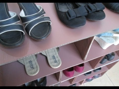 Diy 30 shoes rack from recycled cardboard popfilm