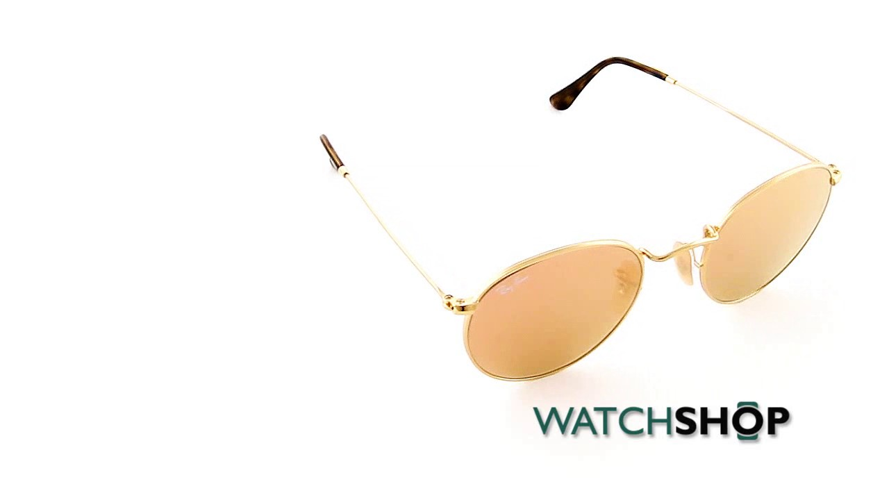 3aa0e2e244c0a Ray-Ban Men s Round Flat Lens Sunglasses (RB3447N-001 Z2-50) - YouTube
