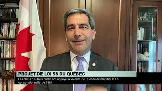 Motion sur l'appui au projet de loi 96 à Ottawa - Panel de députés
