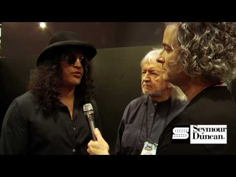 Slash at the Seymour Duncan booth during 2010 NAMM