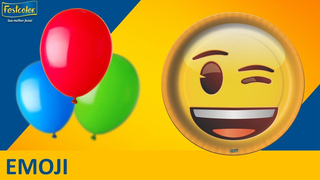 Decoraç u00e3o de festa infantil l Emojis YouTube -> Decoração De Festa Tema Emoji