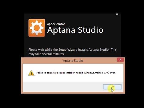 Aptana studio 3 -CRC ERROR -Failed to correctly acquire installer_nodejs_windows.msi file: CRC error