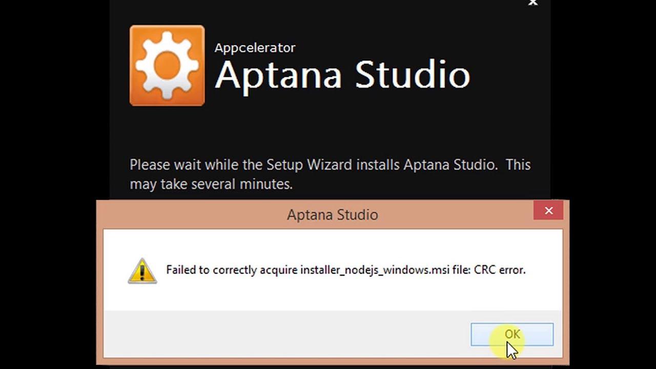 failed to correctly acquire installer_nodejs_windows.msi file crc error