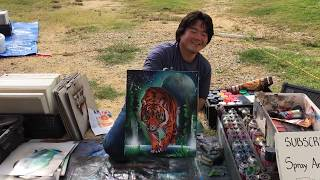 Cool tiger painting!! Spray painting!!