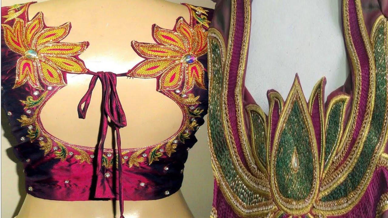 5c2f20df5b7e21 Letest Lotus Embroidery Silk Saree Blouse Designs Online India Videos