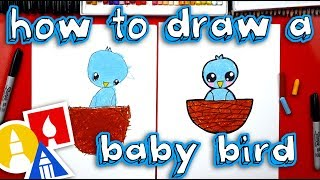 How To Draw Baby Bird WITH SHAPES! (for young artists)