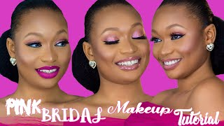 PINK BRIDAL MAKEUP TUTORIAL | Easy Foundation Before Brows and Eyeshadow Routine
