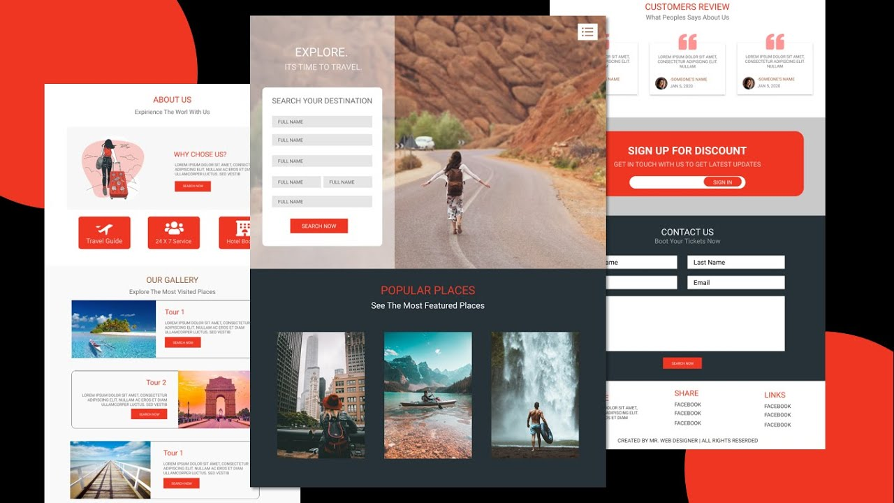 Complete Responsive Tours & Travel Website Design Using HTML CSS  & JQUERY