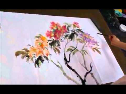 20150829陳永浩CHEN YUNG HAO老師授課Ink and color PAINTING 畫牡丹 Painted peony