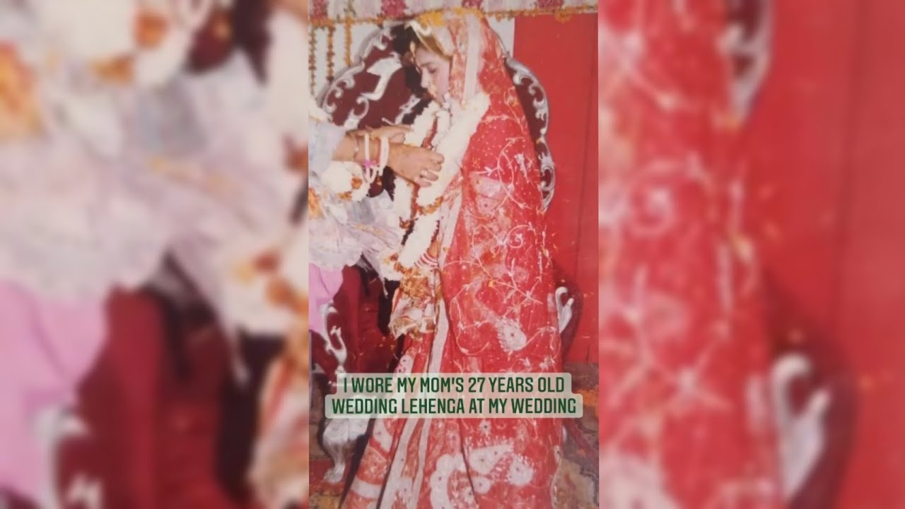 This bride wore her mom's 27  years old wedding lehenga for her pheras 😍 #shorts
