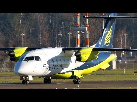 Turboprop Dornier 328 Skywork Airlines Take-Off at Bern Airport - Waving Pilot