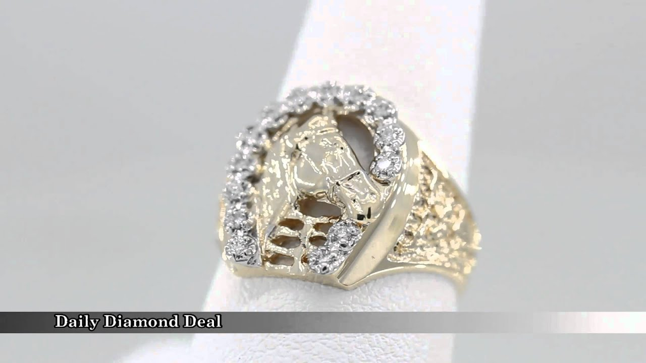 14K Gold Horse Head Diamond Horseshoe Mens Ring YouTube