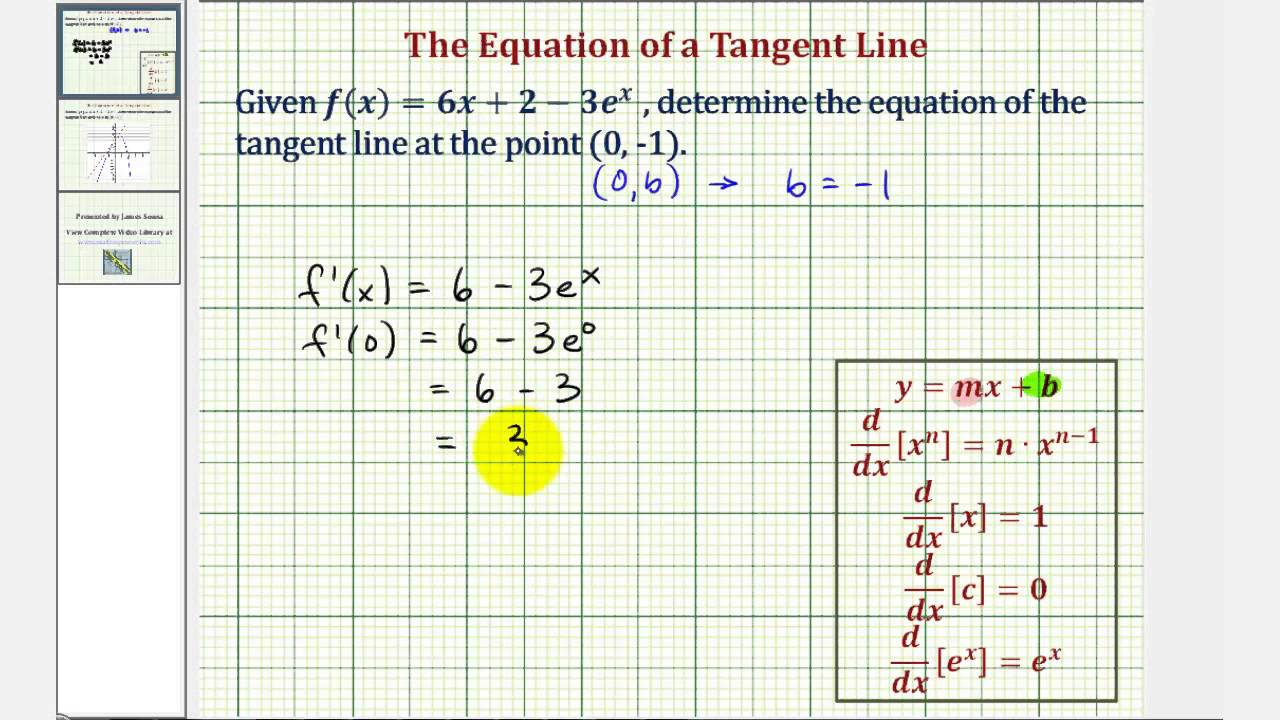 Ex: Find The Equation Of A Tangent Line At A Given Point  Linear And  Exponential Function