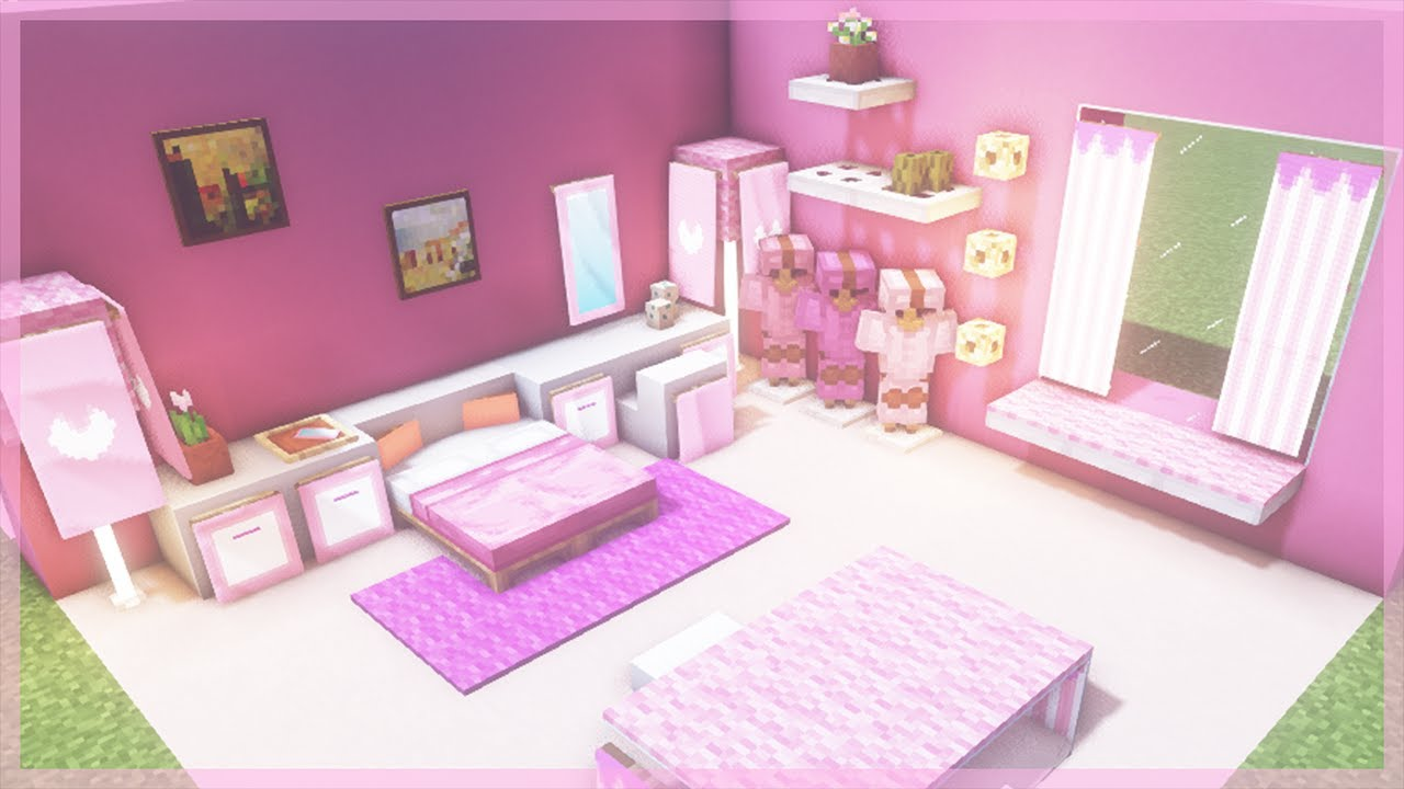 Minecraft How To Make A Pink Bedroom Youtube