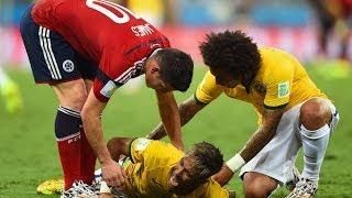 Video Neymar gãy xương lưng, world cup 2014