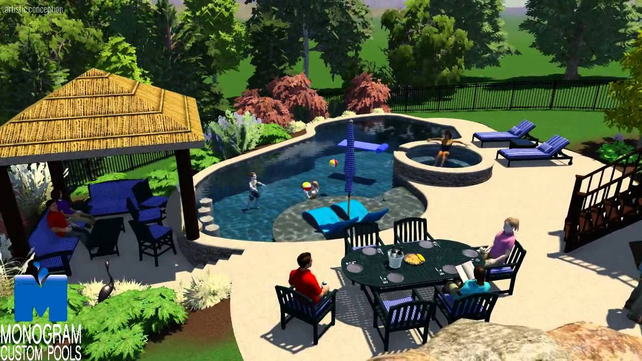 Mountain lake style pool with swim up bar in northampton for Pool design with swim up bar