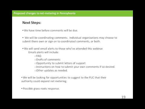 Webinar on Proposed Changes to PA Net Metering 3/12/2014