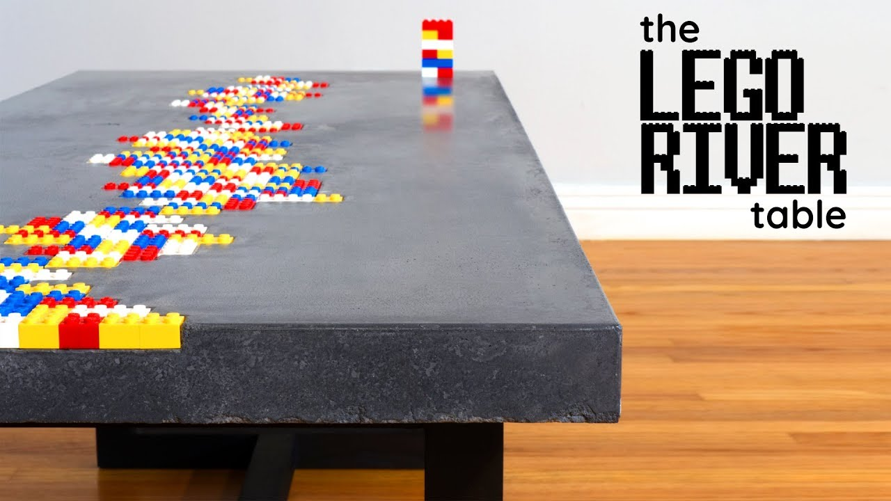 Concrete Coffee Table With LEGO Inlay - YouTube