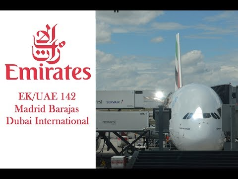 Emirates ✈️ الامارات A380 taking off from Madrid Barajas Airport and landing in Dubai Airport