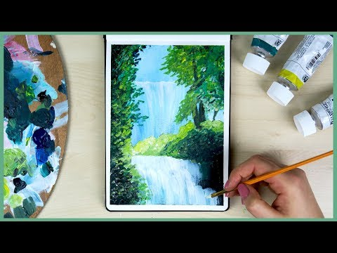 How To Paint A Waterfall With Acrylic Paint For Beginners | Art Journal Thursday Ep. 23