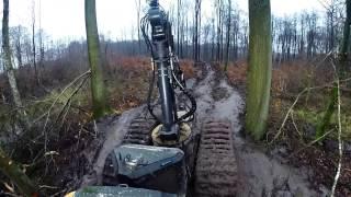 Ponsse Ergo H7 C4. Przejazd szlakiem zrywkowym. HD  Błoto ;p