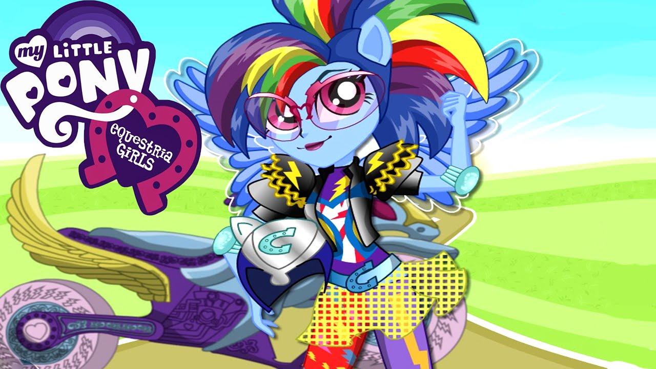 My Little Pony Equestria Girls Friendship Games Rainbow Dash Motocross Style Dress Up Youtube