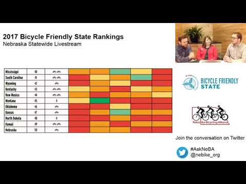 **Video starts at 1:50 mark** LiveStream: NE Ranks 50th in Bicycle Friendly State Rankings.