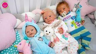 Rutina de noche de mis bebés reborn Anuk, Lindea y Leo