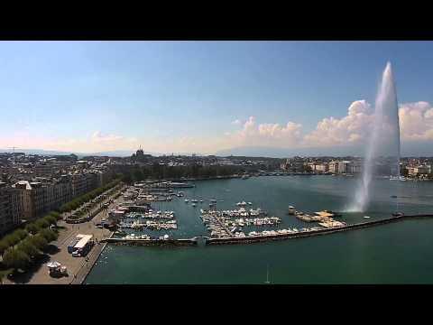 Geneva Switzerland - Water fountain - aerial view - Genève Suisse - Jet d'eau - vue aérienne