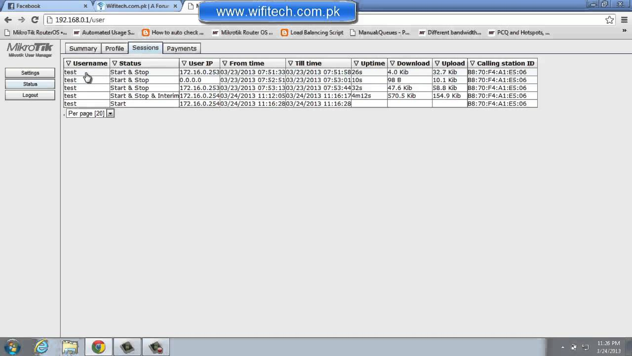 Mikrotik User Manager User Page