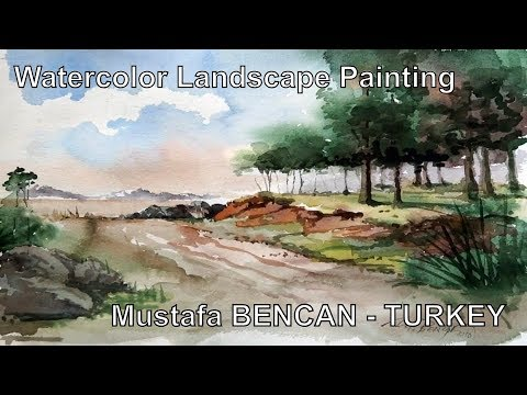 Watercolor Landscape Painting Demonstration – Artist Mustafa BENCAN – Turkey – Speed Video