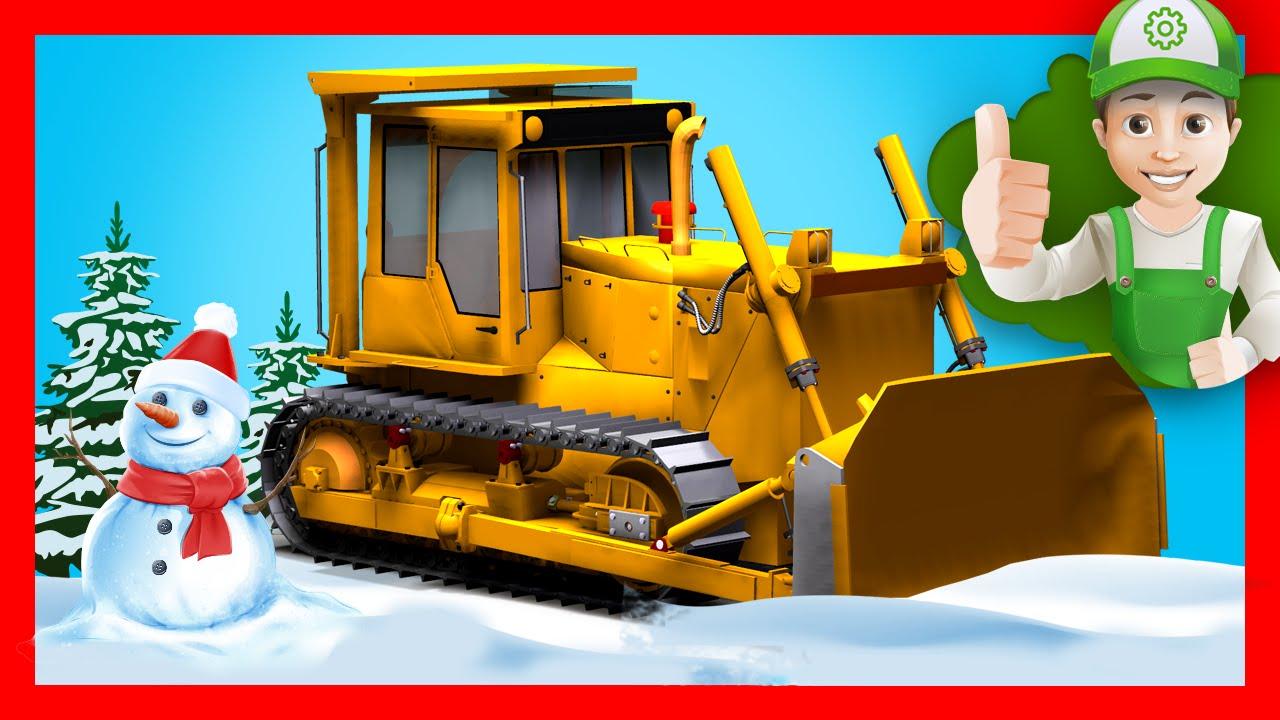 Бульдозер убирает снег для Винтика. Мультики про машинки