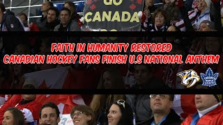 Faith In Humanity Restored : Canadian Hockey Fans Finish U.S National Anthem After The Mic Cuts Out