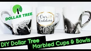 DIY Dollar Tree Marbled Coffee Mugs & Bowls | Home Decor | Bridal | Mother's day | Chanelle Novosey