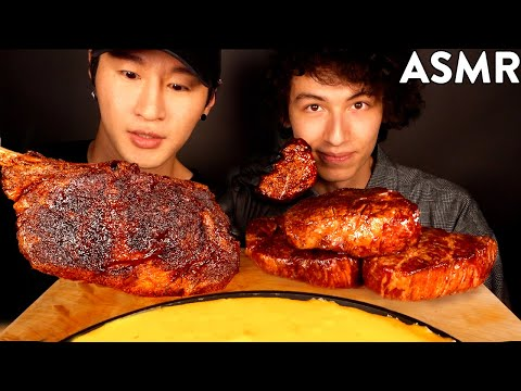 ASMR STEAKS & STRETCHY CHEESE With SUB URBAN MUKBANG (FILET MIGNON & TOMAHAWK STEAK)