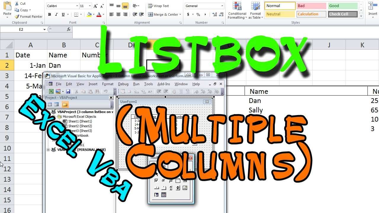 How to Create 3 Column Listbox on Worksheet or Userform in Excel VBA