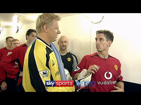 Gary Neville refuses to shake Peter Schmeichel's hand before the Manchester derby