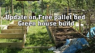 Update 1 on free pallet wood raised beds/green house.
