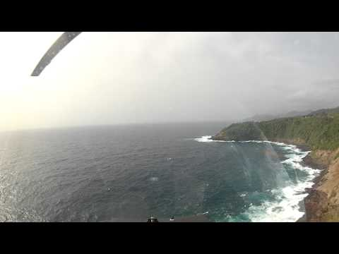 ...flying along the Dominica coastline