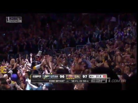 Kobe Bryant marca 60 pontos em sua despedida - Utah Jazz 96 x 101 Los Angeles Lakers - 13/04/2016