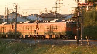 朝焼けの上越線を行く115系普通列車