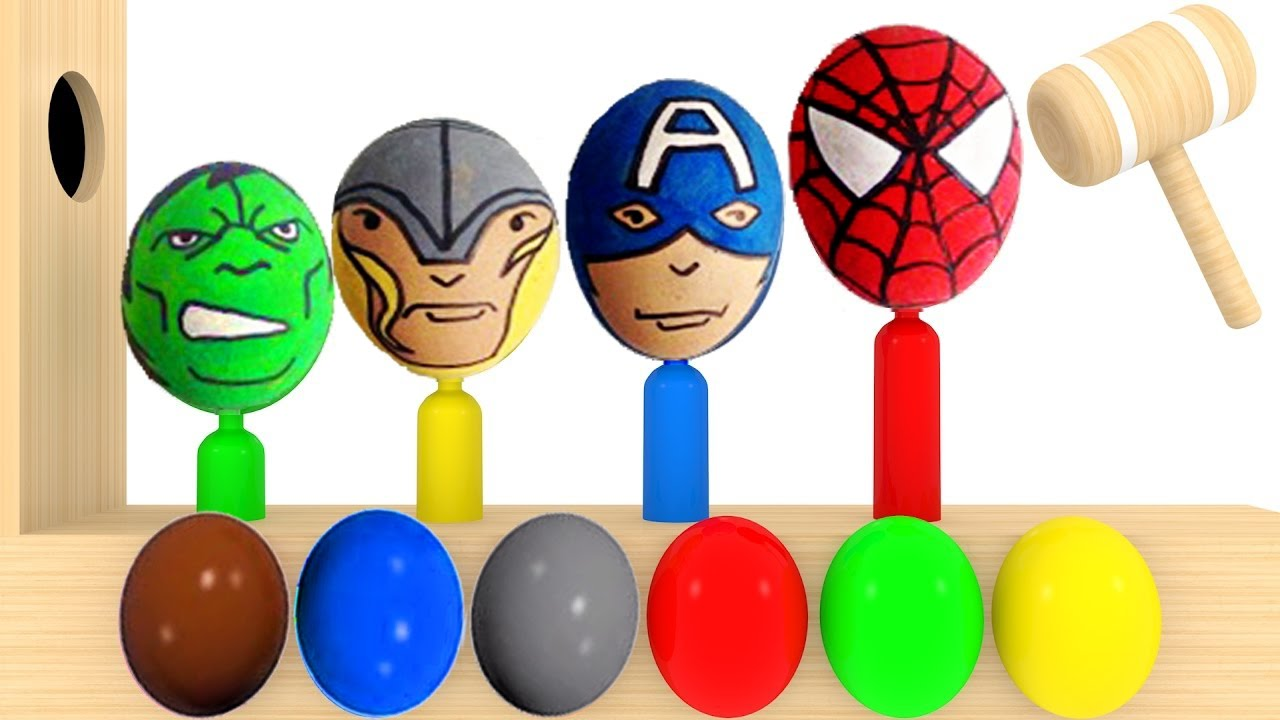 Learn Colors Surprise Eggs Wooden Face Hammer Xylophone