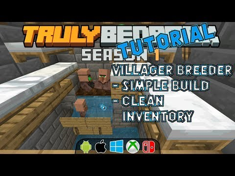 Villager Breeder Tutorial.  Clean villagers, super simple!  Truly Bedrock s1ep39 thumbnail