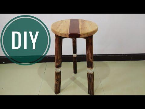 ทำเก้าอี้ไม้Stool ปะทะ Epoxy Resin.