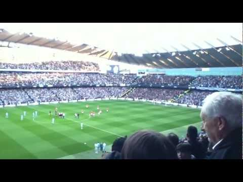 Man city fans singing Blue moon at kick of against manchester united - 2012 manchester derby
